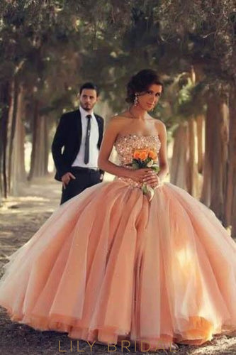 Orange Ball Gown Straight Across Neckline Vintage Organza Bridal Dress With Beads