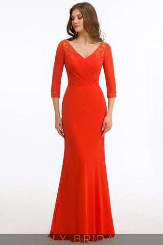 Jersey V-Neck 3/4 Sleeve Floor-Length Mermaid Mother of the Bride Dress with Applique