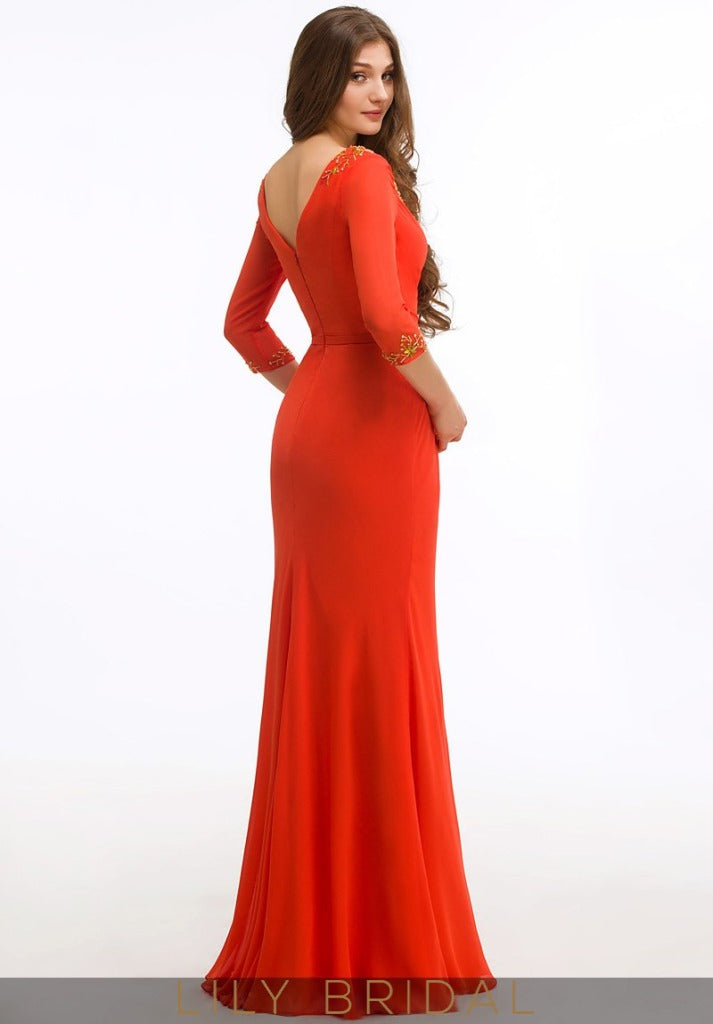 Jersey V-Neck 3/4 Sleeve Floor-Length Mermaid Mother of the Bride Dress
