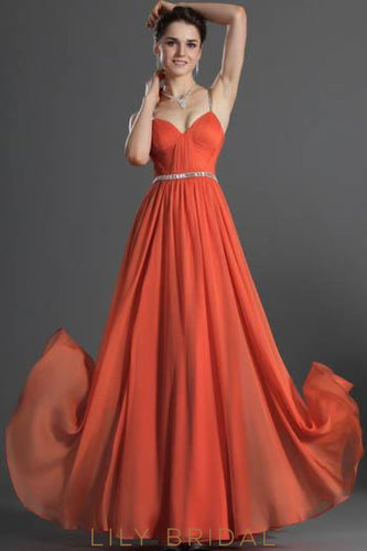 Orange Spaghetti Strap A-Line Floor-Length Chiffon Formal Evening Dress With Beads