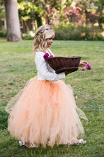 Orange V-Neck Long Sleeve Ankle-Length Tulle Ball Gown Flower Girl Dress