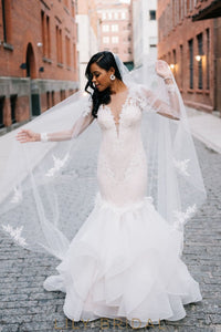 Organza Dropped Waist Long Sleeve Illusion Lace Wedding Dress