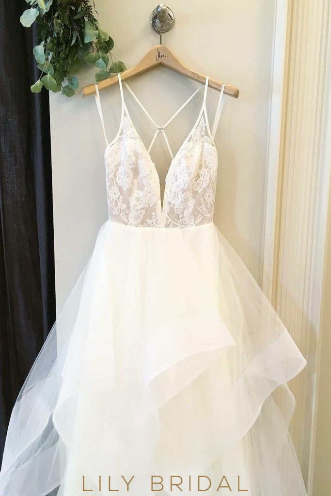 Organza Wedding Dress with Plunging V-neckline Criss-Cross Back Flounced