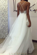 Organza Wedding Dress with Plunging V-neckline Back Flounced Floor Length