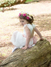 Cap Sleeve Keyhole Back A-Line Tea-Length Organza Flower Girl Dress With Lace Sash