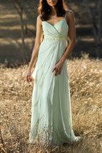 Chiffon Spaghetti Strap Open Back  Layered Bridesmaid Dress With Beads