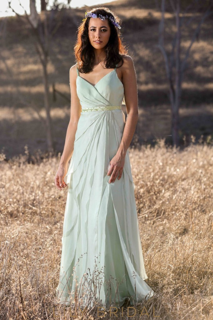 Chiffon Spaghetti Strap Open Back Floor-Length Layered Bridesmaid Dress With Beads