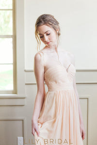 Peach Chiffon A-line Sweetheart Strapless Empire Waist Bridesmaid Dress