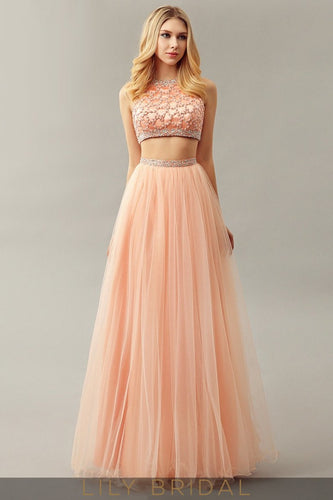 Pearl Pink Two-Piece Tulle A-Line Jewel Neckline Beaded Prom Dress