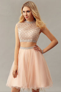 Peach Tulle High Neckline Cap Sleeves A-Line Short Cocktail Dress