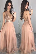 Pearl Pink Spaghetti Strap Backless A-Line Floor-Length Split Tulle Prom Dress With Sequin Bodice