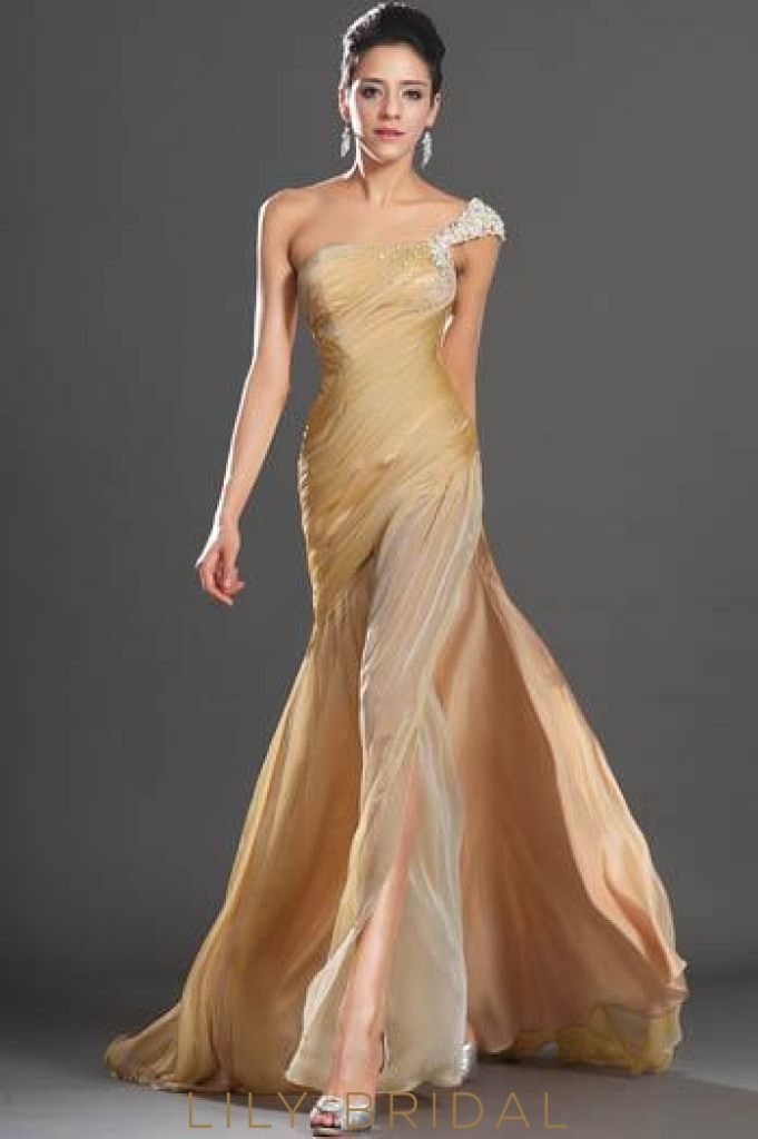 Pearl Beaded One-Shoulder Split Chiffon Evening Dress With Sweep Train
