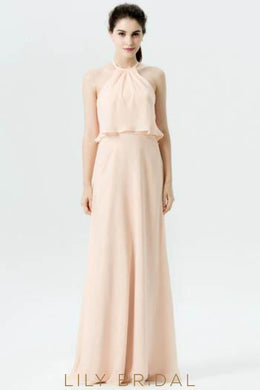 Pearl Pink Chiffon Two-Piece Halter Long Bridesmaid Dress