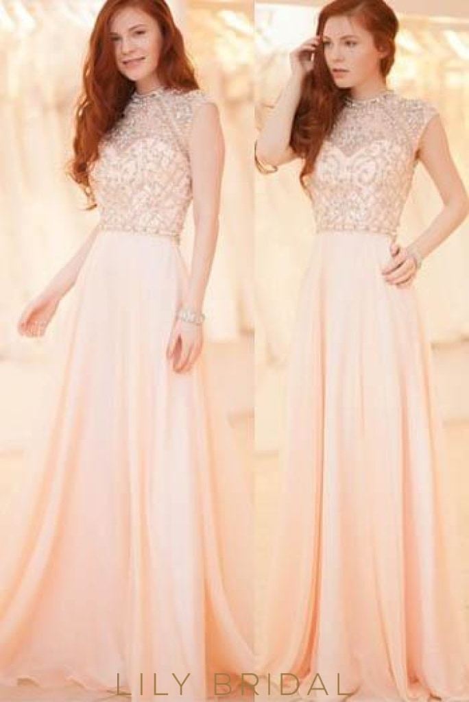 Pearl Pink High Neck Cap Sleeve A-Line Floor-Length Chiffon Evening Dress With Illusion Beaded Bodice