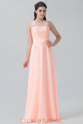 Pearl Pink Jewel Neck Sweep Train Chiffon Bridesmaid Dress With Lace Applique