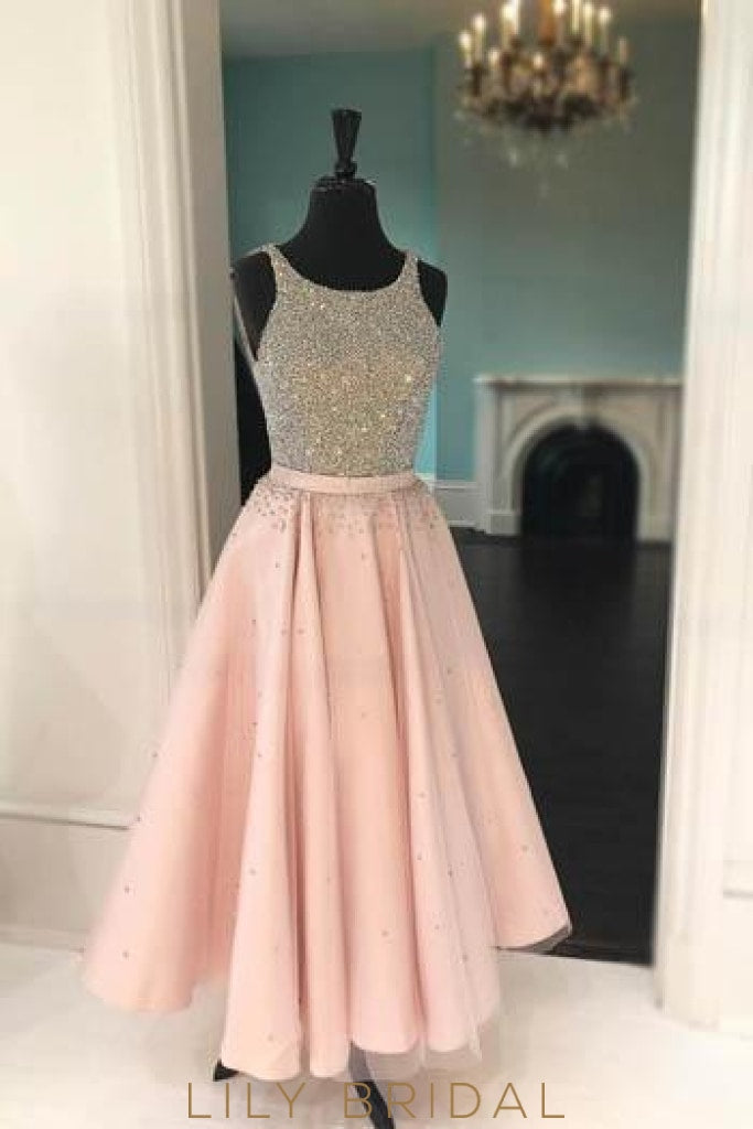 Pearl Pink Jewel Sleeveless Satin Prom Dress With Beads