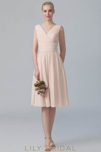 Pearl Pink Ruched V-Neck Pleated Chiffon Short Bridesmaid Dress