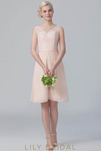 Pearl Pink V-Neck Chiffon Short Bridesmaid Dress With Lace Top