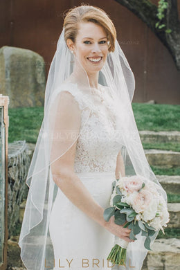 Pencil Edge One Layer Tea-Length Bridal Veil