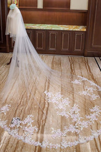 Perfect Double Tier Cathedral Wedding Veil with Beaded Embroidery Floral Motif