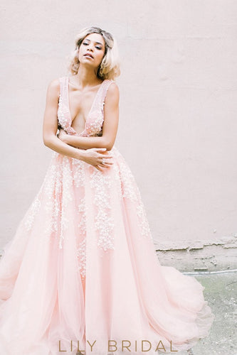 Pink A-Line Tulle Plunging Sleeveless Pearls Wedding Dress