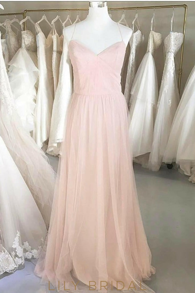 Spaghetti Strap Criss Cross Back A-line Floor-Length Bridesmaid Dress