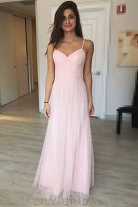 Candy Pink Spaghetti Strap Criss Cross Back A-line Floor-Length Bridesmaid Dress