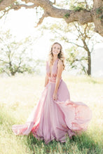 Candy Pink Chiffon Halter Plunging V-Neck Bridesmaid Dress With Sash