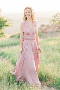Pink Chiffon Halter Plunging Sleeveless A-Line Bridesmaid Dress
