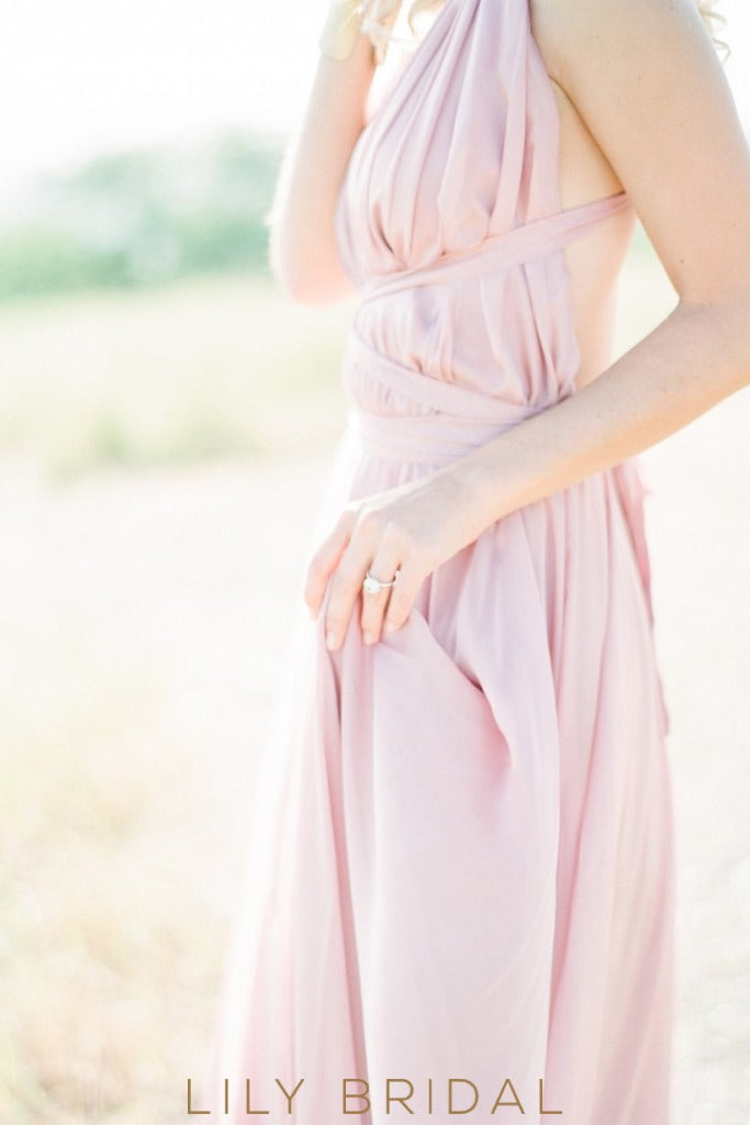 Candy Pink Chiffon Halter Plunging V-Neck Criss Cross Back Bridesmaid Dress