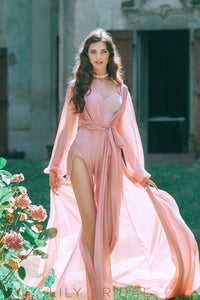 Pink Chiffon Long Sleeve Double Slits Wedding Dress with Cathedral Train and Open Back