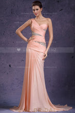 Pink Chiffon One-Shoulder Rhinestone Beaded Mermaid Evening Dress With Court Train