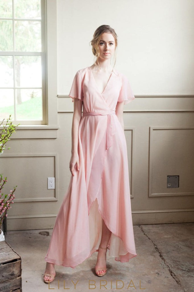 Bubblegum Chiffon V-Neck Short Sleeve High-Low Bridesmaid Dress With Sash