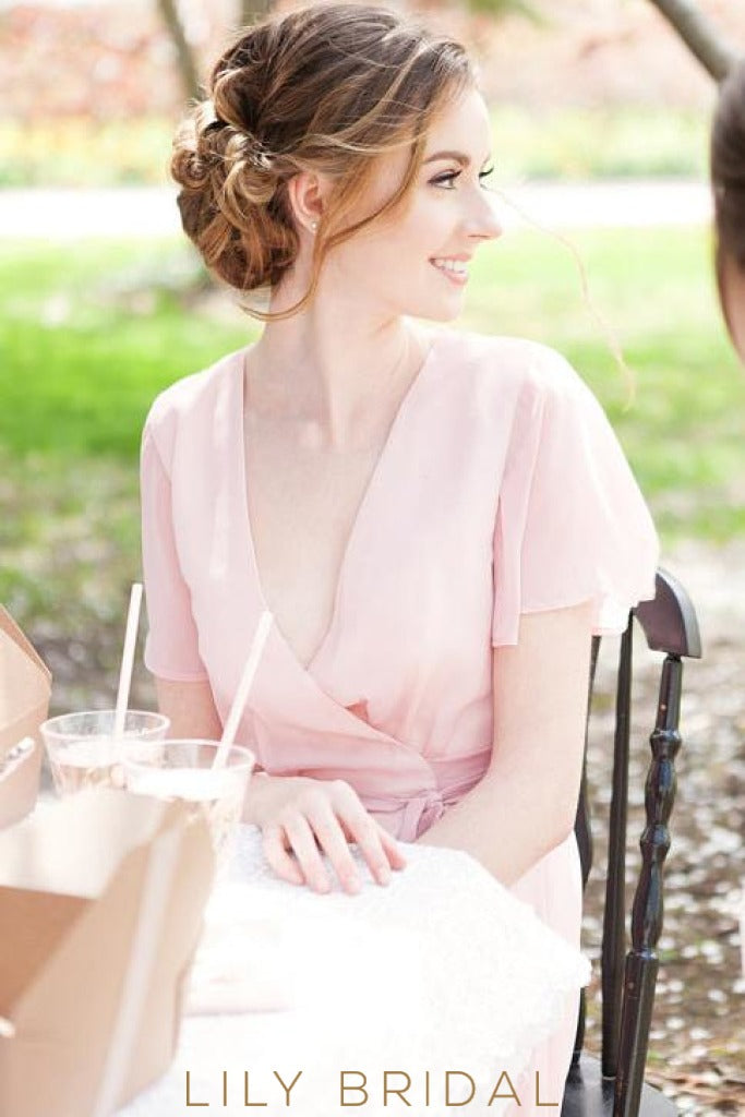 Bubblegum V-Neck Short Sleeve High-Low Bridesmaid Dress With Sash