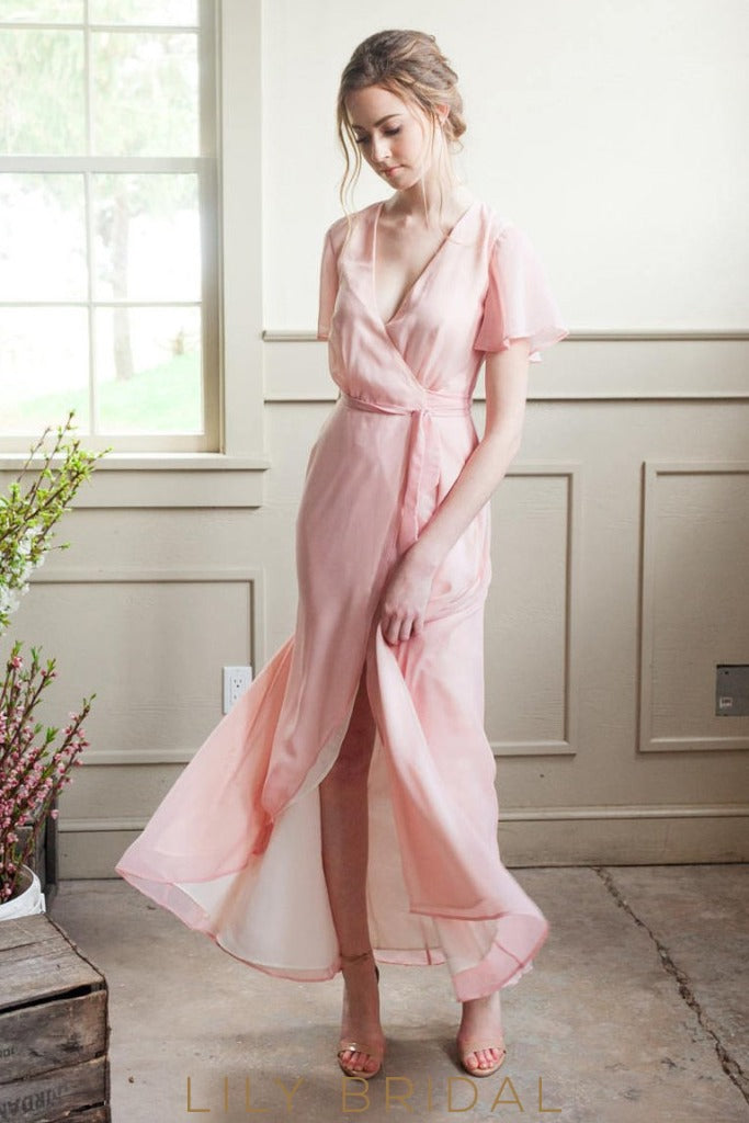 Bubblegum Chiffon V-Neck High-Low Bridesmaid Dress With Sash