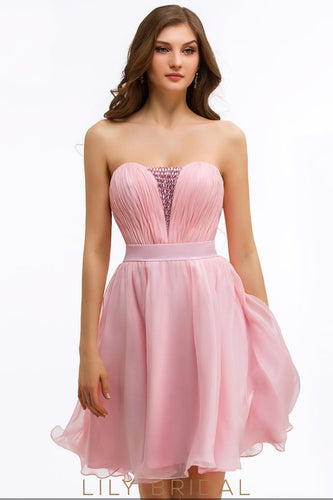 Bubblegum Chiffon Sweetheart Strapless A-Line Beaded Cocktail Dress