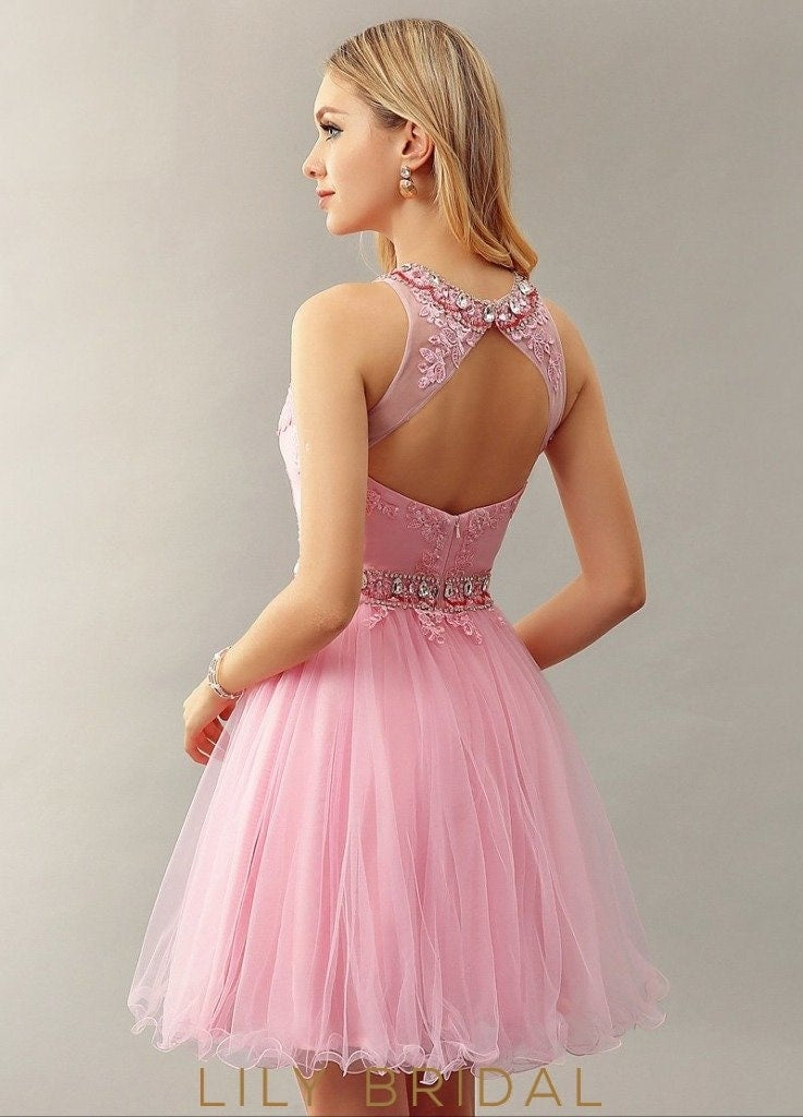 Candy Pink Tulle Keyhole Back Sleeveless Cocktail Dress With Applique