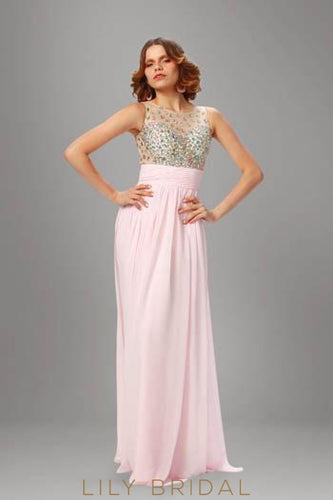 Pink Floor-Length Chiffon Evening Dress With Illusion Rhinestone Beaded Bodice