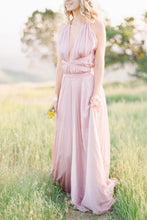 Candy Pink Chiffon Plunging V-Neck Criss Cross Back Bridesmaid Dress With Sash