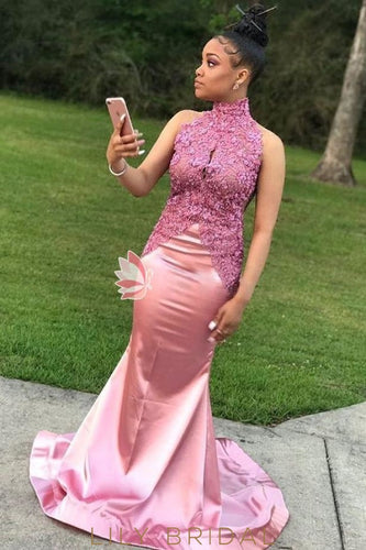 Pink High Neck Sleeveless Mermaid Style Sweep Train Prom Dress