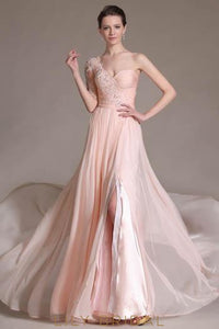 Pink One-Shoulder Half-Sleeve Floor-Length Split Chiffon Bridesmaid Dress With Applique