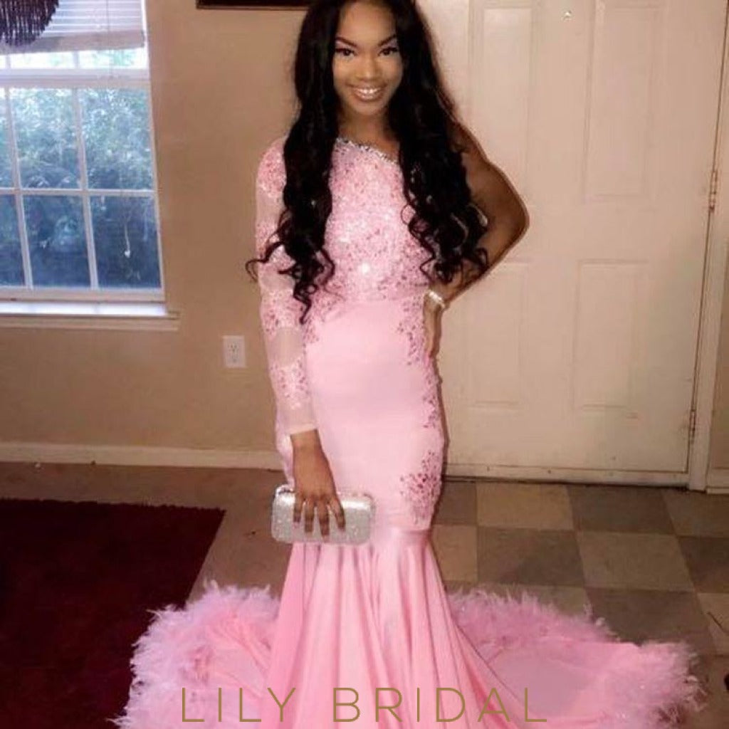 Bubblegum Satin Lace One Shoulder Long Sleeve Mermaid Prom Dress With Feather Hemline
