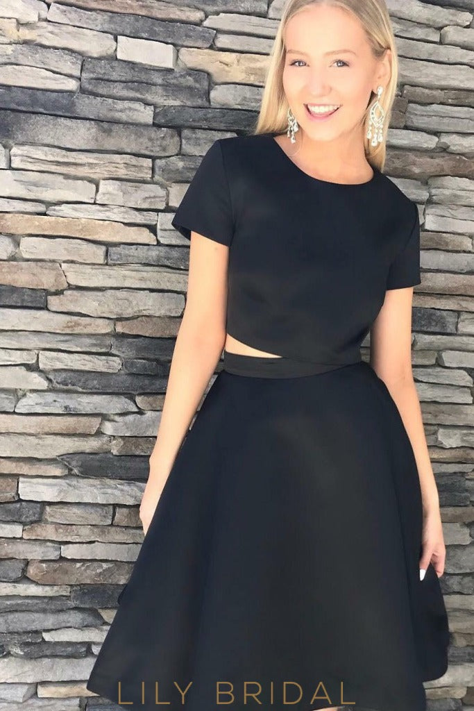 Jewel Neckline A-Line Short Sleeves Two-Piece Cocktail Dress