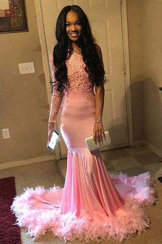 b982270a03 Bubblegum Satin Lace One Shoulder Long Sleeve Mermaid Prom Dress With Feather  Hemline
