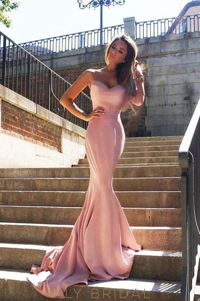 Pink Satin Mermaid Strapless Sweetheart Long Prom Dress with Sweep Train