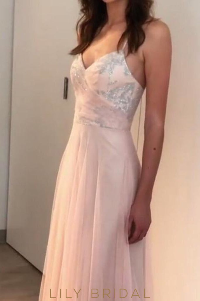 Tulle Sleeveless V-Neckline Sequins Floor Length Bridesmaid Dress