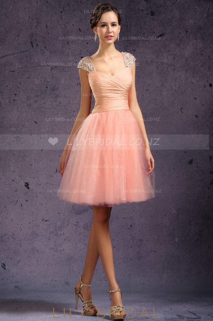 sweetheart-ruched-tulle-cocktail-dress-with-beads