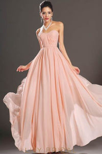 Pink Sweetheart Strapless Floor-Length Chiffon Bridesmaid Dress With Ruched Bodice