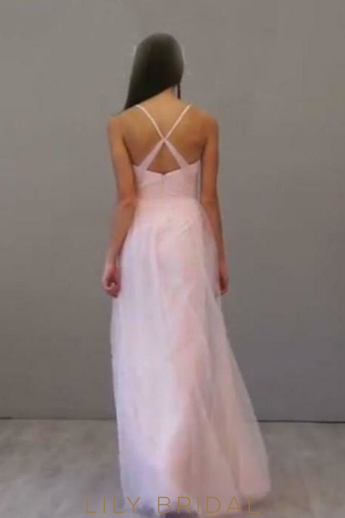 Candy Pink Spaghetti Strap Criss Cross Back Floor-Length Bridesmaid Dress