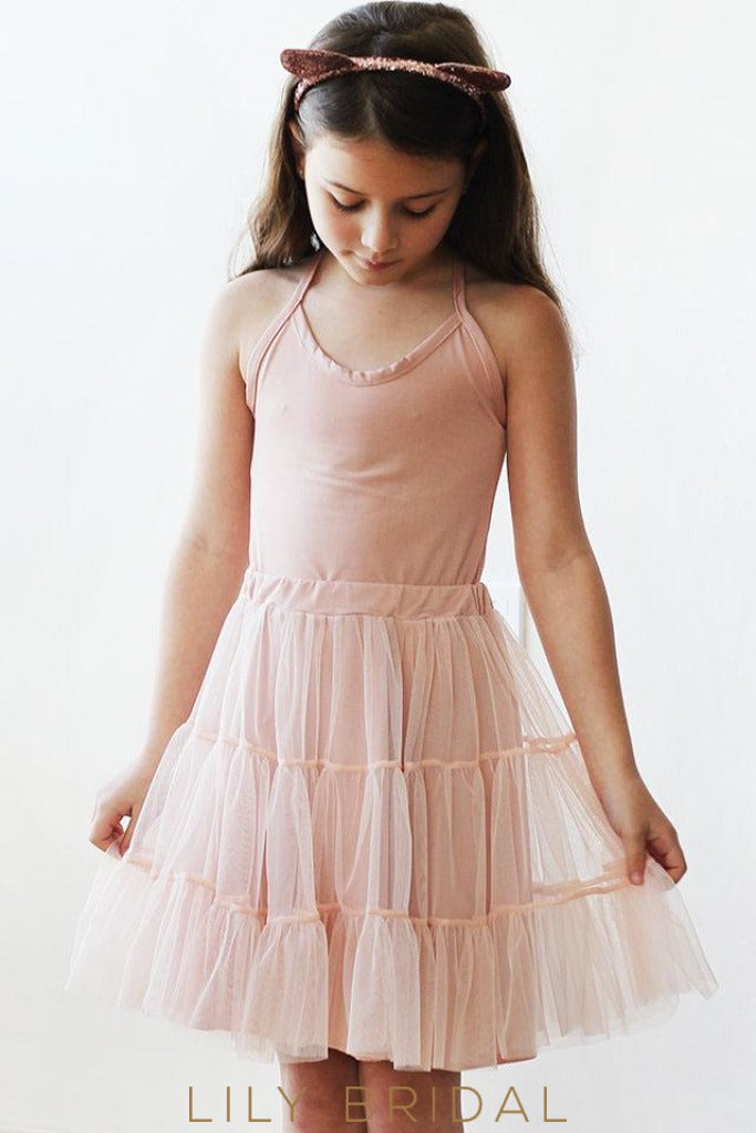 Blush Pink A-Line Sleeveless Flower Girl Dresses